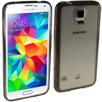 Samsung Galaxy S5 Case with Clear Plastic Back - Smoke
