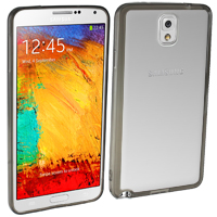 Samsung Galaxy Note 3 Case with Clear Plastic Back - Smoke