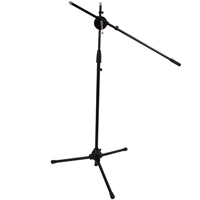 Tripod Microphone Floor Stand with Boom Arm - Black