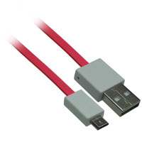 1ft USB 2.0 A Male to Micro-USB B Male Flat Cable - Pink