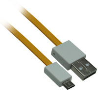 1ft USB 2.0 A Male to Micro-USB B Male Flat Cable - Yellow