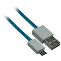 3ft USB 2.0 A Male to Micro-USB B Male Flat Cable - Blue