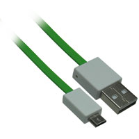3ft USB 2.0 A Male to Micro-USB B Male Flat Cable - Green
