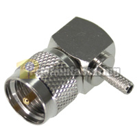 Mini-UHF Right Angle Male Crimping Connector, for Cable RG174, RG179, RG316, LMR-100