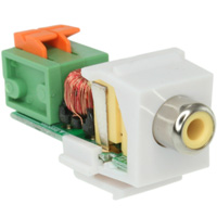 Composite RCA Video (Yellow) Passive Keystone Type Video Balun Over Cat5 Bezel, White