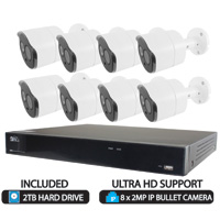 16 Channel NVR H.265 with Remote Viewing, up to 4K Real Time Recording, 8 Port PoE with 8 x 2.1MP HD Bullet Cameras (2TB HDD Included)