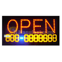 LED OPEN Sign with Telephone Number display