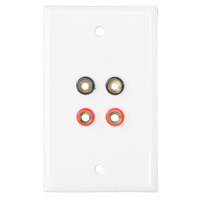 2 Pair Banana Jacks Wall Plate, Jack to Solder, White
