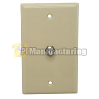 F Connector Wall Plate, Female to Female, Beige , Silver Contact