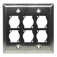 Dual Gang 6 Opening XLR Wall Plate, Stainless Steel - Universal