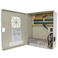 12V DC Power Distribution Box with Circulation Window, 18 Ports, 18 Amps, PTC Fuses, UL / cUL
