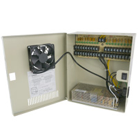 12V DC Power Distribution Box with Circulation Window, 18 Ports, 30 Amps, PTC Fuses with Fan