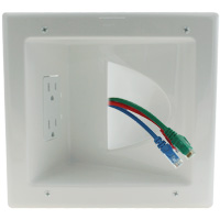 Recessed Low Voltage Media Plate with Duplex Receptacle