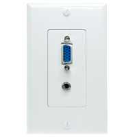 VGA and 3.5mm Stereo Wall Plate - White
