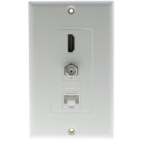 Decora HDMI and F Connector, Cat5E Wall Plate