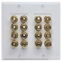 16 Port Decora Banana Connector Wall Plate, Female to Female, Gold Plated, Dual Gang - White