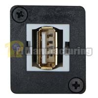 USB 2.0 Keystone Type Chassis Mount, A Female to B Female