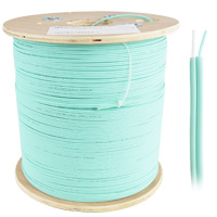 OM3 Multimode 50/125 Bulk Zipcord Fiber Cable, LSZH 2 Fiber, OD:2mm - 305 Meter (1000ft)