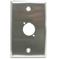 Single Gang 1 Opening XLR Wall Plate, Stainless Steel (For PVP561 only)
