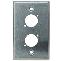Single Gang 2 Opening XLR Wall Plate, Stainless Steel (For PVP555A-N, PVP561-N) Neutrik type