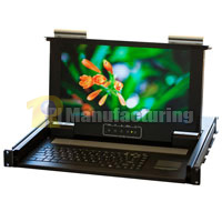 1U Rackmount Short Depth 1 port KVM Console 15.6 inch Wide Screen LCD, USB and PS/2 Combo Interface