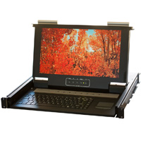 1U Rackmount Short Depth 8 Port KVM Console 15.6 inch Wide Screen LCD, USB and PS/2 Combo Interface