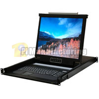 1U Rackmount 1 Port KVM Console 19 inch LCD, USB and PS/2 Combo Interface