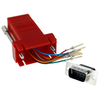 RJ45 to DB9 Male Modular Adapter - Red