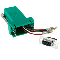 RJ45 to DB9 Female Modular Adapter - Green