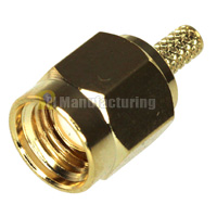 SMA Male Connector for 1.13mm 1.37mm (AWG 30,32) Cable, Gold