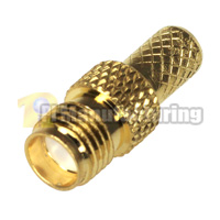 SMA RP Female Crimping Connector for Cable RG58, RG-142, HPF-195, LMR-200, RG400, Gold