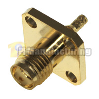 SMA Panel Mount Crimping Connector for 1.13mm 1.37mm (AWG-30,32) Cable, Gold