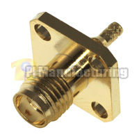 SMA Panel Mount Crimping Connector for Cable RG174, RG179, RG316, LMR-100, Gold