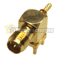 SMA-RP Female PCB Mount Crimping Connector for RG178 Cable, Gold