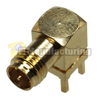 SMA-RP Female PCB Mount Crimping Connector, Gold