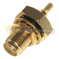 Water Resistant SMA Female Bulkhead Crimping Connector for 1.13mm 1.37mm Cable