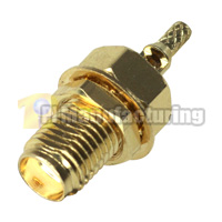 SMA Female Bulkhead Crimping Connector for RG178 Cable, Gold
