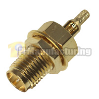 SMA-RP Female Bulkhead Crimping Connector for 1.13mm 1.37mm Cable, Gold