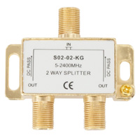 Premium 2 Way Coax Cable Splitter F-Type 5-2400MHz - Gold Connectors (For Satellite or Cable TV)