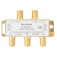Premium 4 Way Coax Cable Splitter F-Type 5-2400MHz - Gold Connectors (For Satellite or Cable TV)