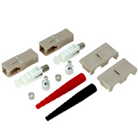 SC Multimode Duplex Connector with 2mm Black Boot - Beige (Pack of 2)