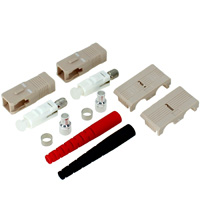 SC Multimode Duplex Connector with 3mm Black / Red Boot - Beige (Pack of 2)