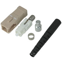 SC Multimode Simplex Connector with 3mm Black Boot - Beige