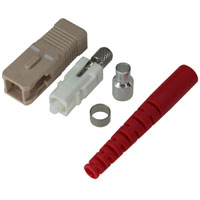 SC Multimode Simplex Connector with 3mm Red Boot - Beige