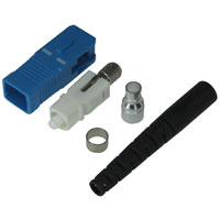 SC Singlemode Simplex Connector with 2mm Black Boot - Blue
