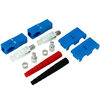 SC Single-mode Simplex Connector with 3mm Red Boot - Blue (Pack of 2)