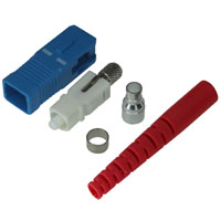 SC Single-mode Simplex Connector with 3mm Red Boot - Blue