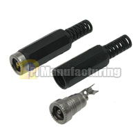 DC Female Assembly Connector, with SR (2.1mm ID / 5.5mm OD), Cable OD:4.5MM