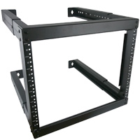 8U Open Frame Wall Mount Rack Adjustable Depth