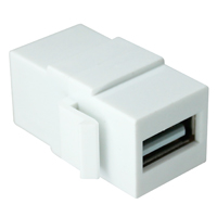 USB 2.0 A Female to A Female Nickel Plated Modular Keystone Jack - White
